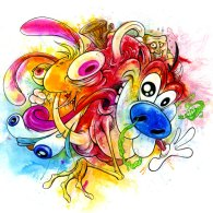 EEDIOTS! - Ren and Stimpy Art by Alex Pardee - Nickelodeon Cartoons, John Kricfalusi
