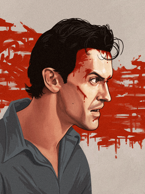 Ashley 'Ash' J. Williams (Bruce Campbell) from The Evil Dead by Mike Mitchell - Sam Raimi