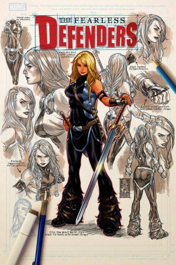 Fearless Defenders #9 Cover by Mark Brooks - Valkyrie Character Design Sketches