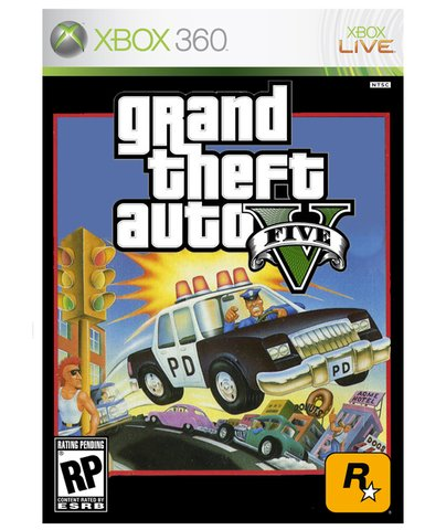 retro grand theft auto box art - vintage 1980s style video game covers for modern games