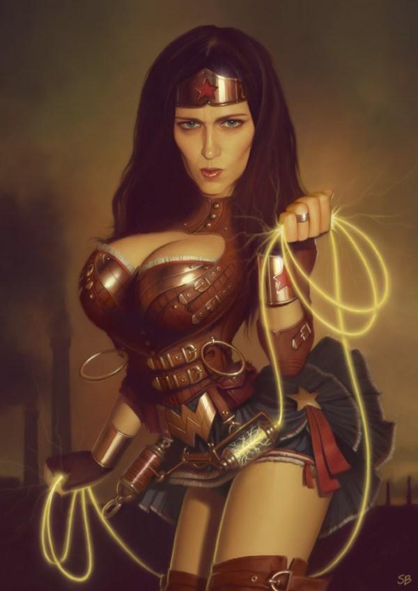 Steampunk Wonder Woman Pin-Up by Serge Birault - DC Comics Art