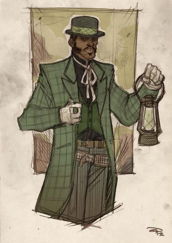 Wild West Green Lantern by Denis Medri - Western Justice League Redesign