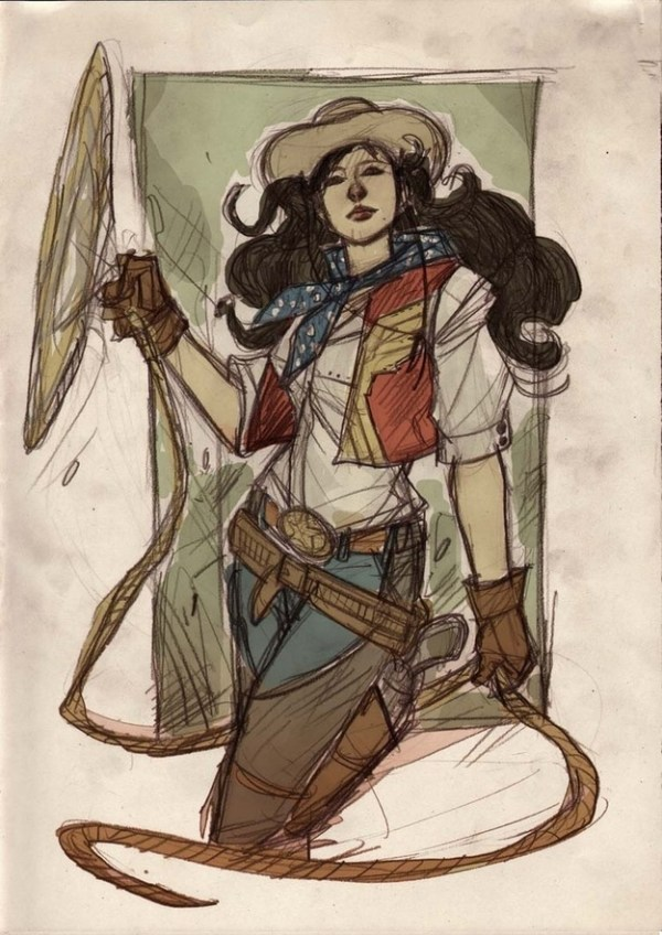Wild West Wonder Woman by Denis Medri - Western Justice League Redesign