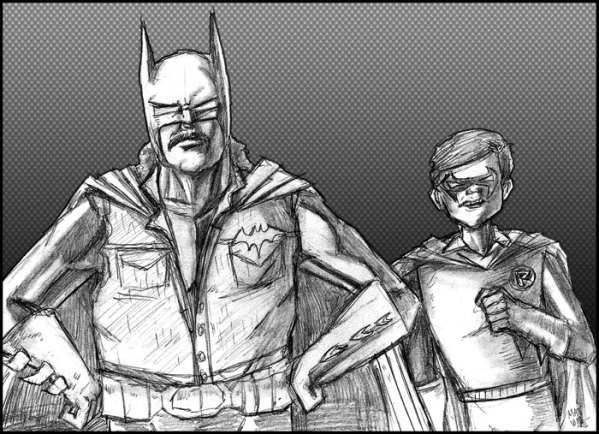 Zap Rowsdower and Troy McGreggor as Batman and Robin by Matt Wall - MST3K Art