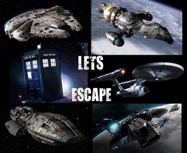 Sci-Fi Ships - Millennium Falcon, Tardis, Starship Enterprise
