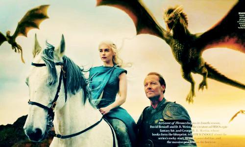 Game of Thrones Vanity Fair Photoshoot - Daenerys Targaryen and Jorah Mormont