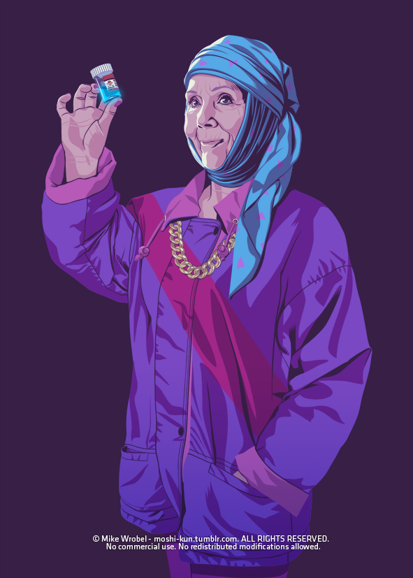 Olenna Tyrell 80s/90s Style - Game of Thrones Art by Mike Wrobel