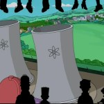 Mystery Science Theater 3000 characters Tom Servo, Crow T. Robot and Joel/Mike on The Simpsons.