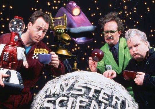 Mystery Science Theater 3000 cast - Tom Servo, Joel Robinson, Crow T. Robot, Gypsy, Dr. Clayton Forrester, TV's Frank