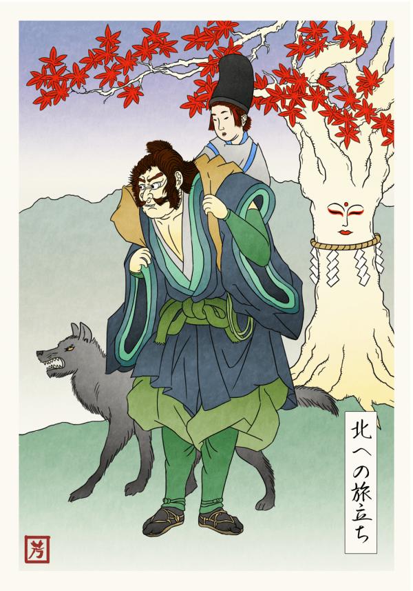 Bran Stark and Hodor journey north - Game of Thrones Japanese Woodblock