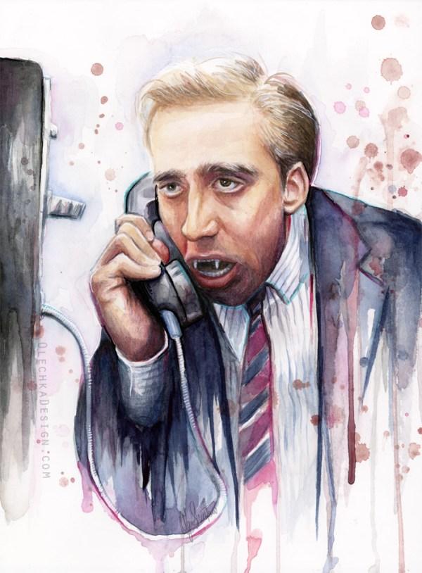 Nicolas Cage Vampire's Kiss Watercolor Painting by Olga Shvartsur