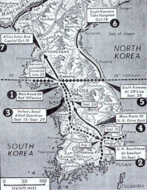 Vintage Map of the Korean War with timeline - from Jack Cicolello's collection