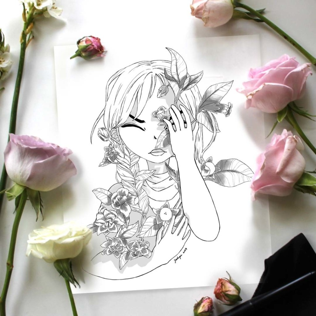 pained girl wrapped with flora