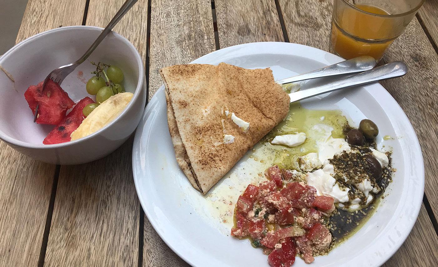 Photo of Lebanese breakfast - Zaatar and Lebni, Shankleesh, Khubs, fruit and coffee