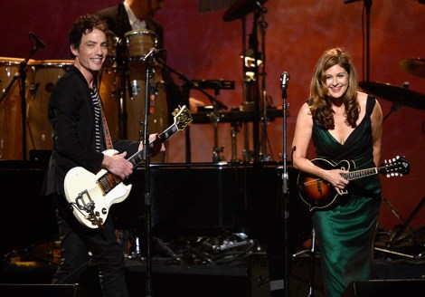 LOS ANGELES, CA - JANUARY 24:  Singers Jakob Dylan (L) and Louise Goffin perform onstage at The 2014 MusiCares Person Of The Year Gala Honoring Carole King at Los Angeles Convention Center on January 24, 2014 in Los Angeles, California.  (Photo by Kevork Djansezian/Getty Images)