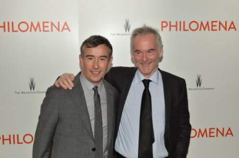 """NEW YORK, NY - NOVEMBER 12:  (L-R)  Actor, screenwriter Steve Coogan and  Journalist Martin Sixsmith attend the premiere of """"Philomena"""" hosted by The Weinstein Company at Paris Theater on November 12, 2013 in New York City.  (Photo by Andrew H. Walker/Getty Images)"""