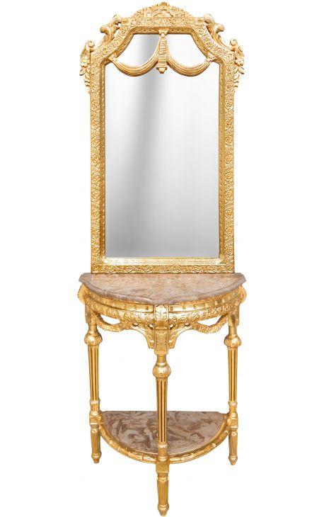 console demi lune avec miroir de style baroque en bois dore et marbre beige