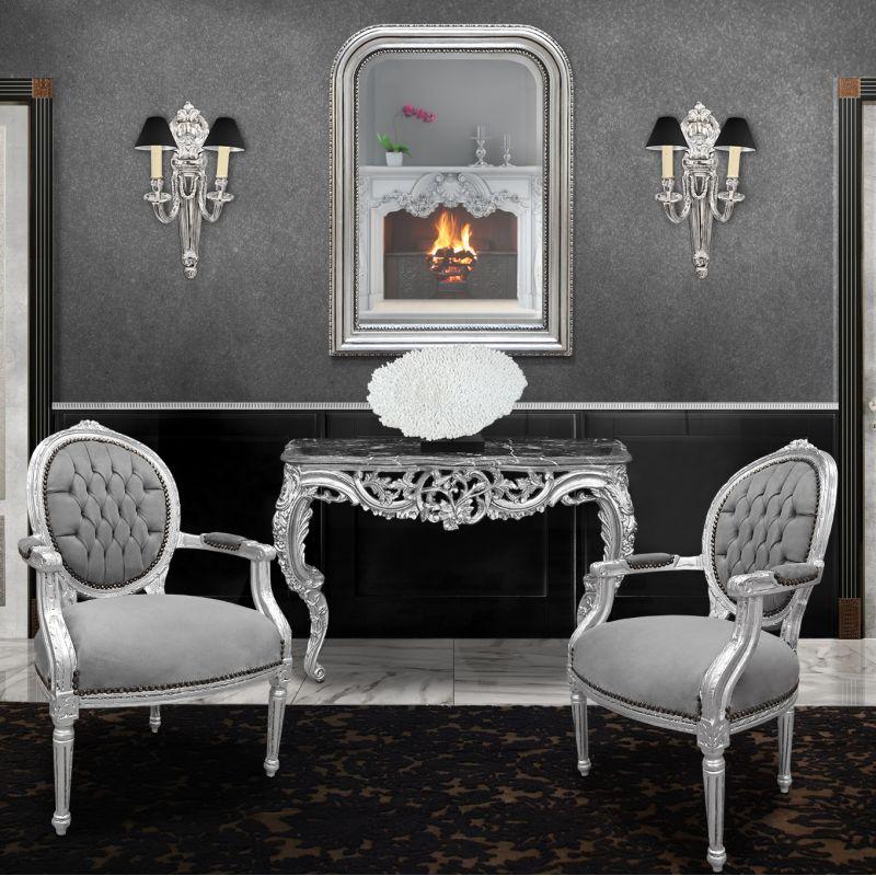 Miroir De Style Louis Philippe Argent Et Glace Biseaute