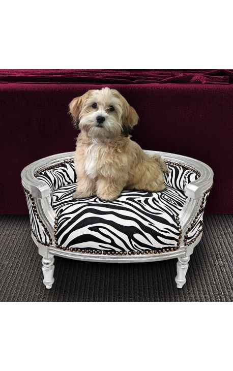 Baroque Sofa Bed For Dog Or Cat Zebra Fabric And Silver Wood