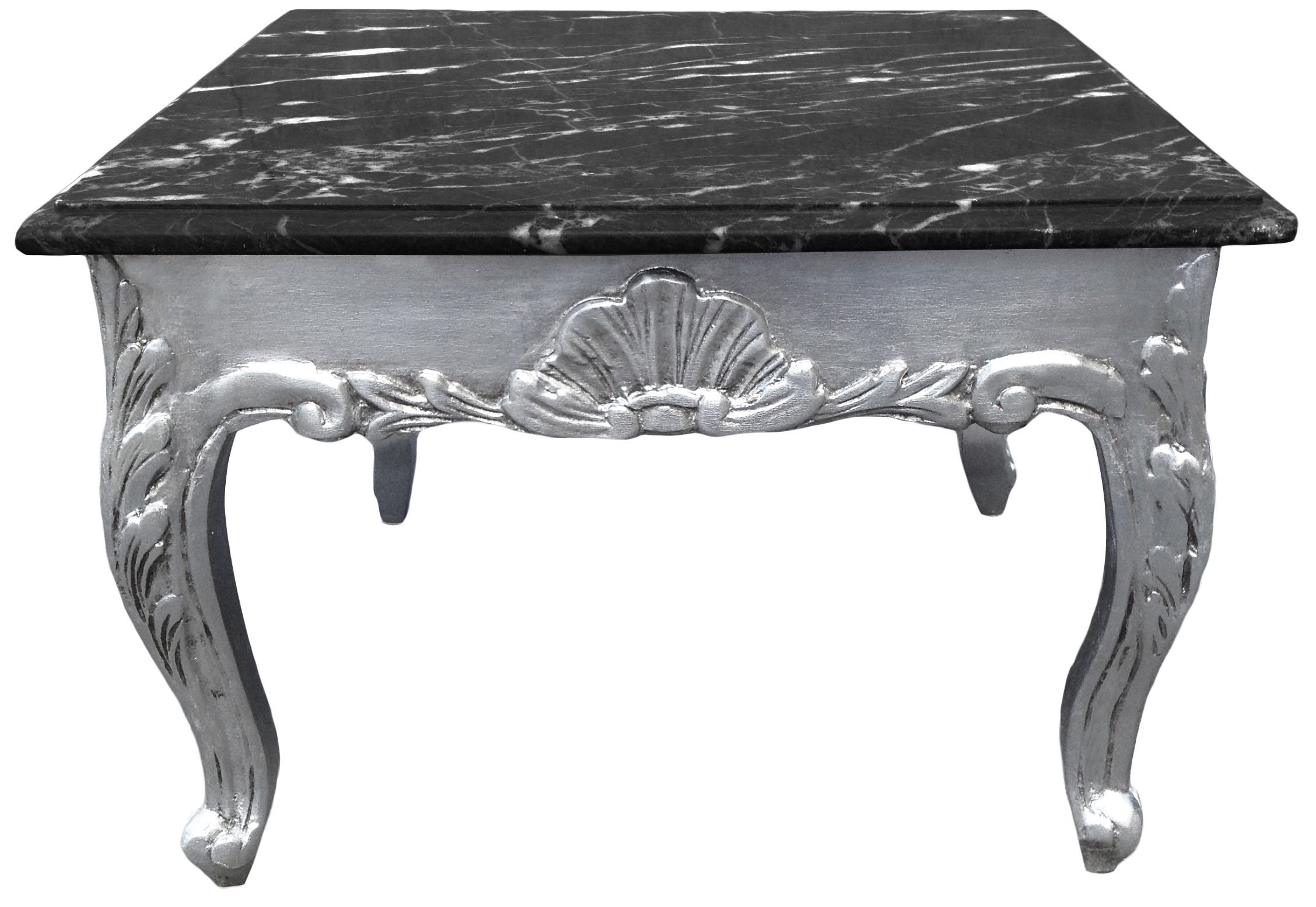Square Coffee Table Baroque Style Wood Silvered Black Marble