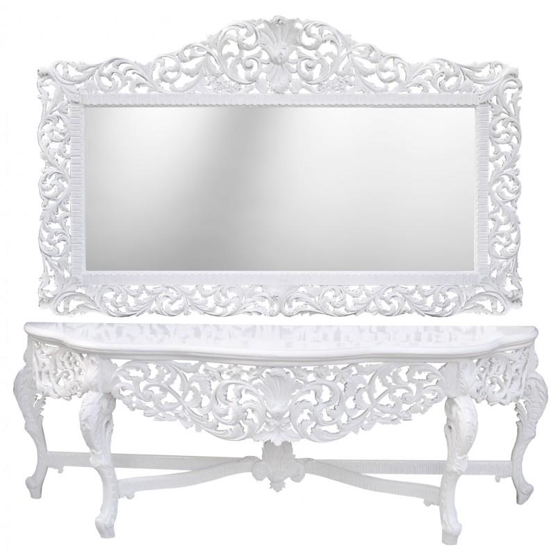 enorme console avec miroir de style baroque en bois laque blanc et grand miroir