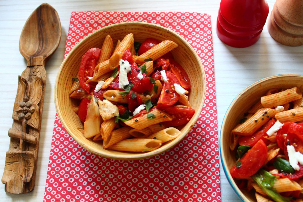 salade penne chèvres tomates
