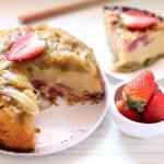 Gâteau renversé (et réversible !) à la rhubarbe et au crumble à la fraise
