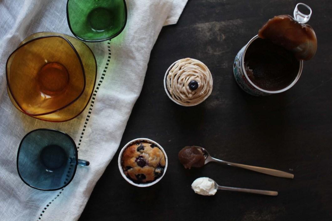 muffins creme marrons myrtilles