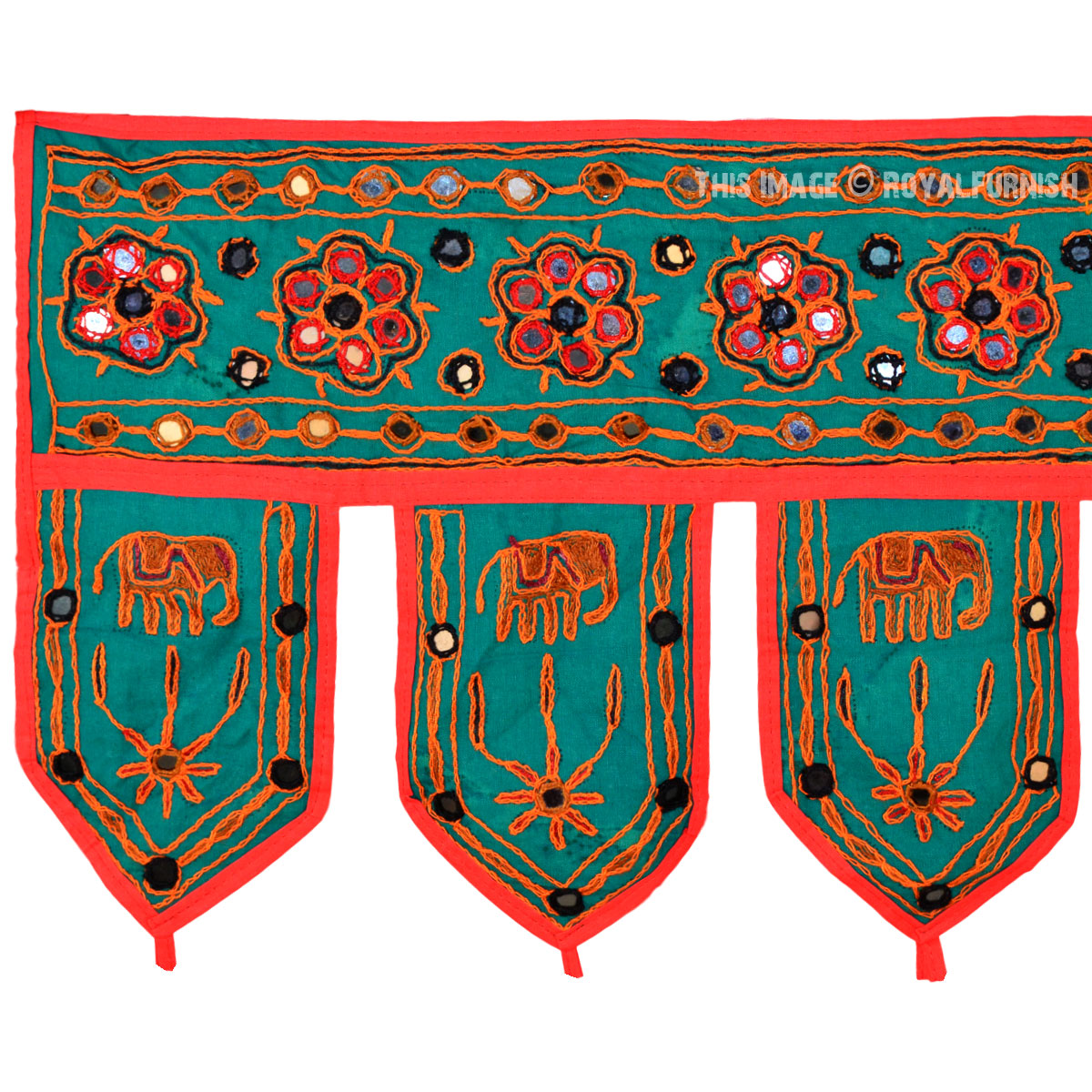 Indian Mirror Embroidered Door Window Hanging Valance