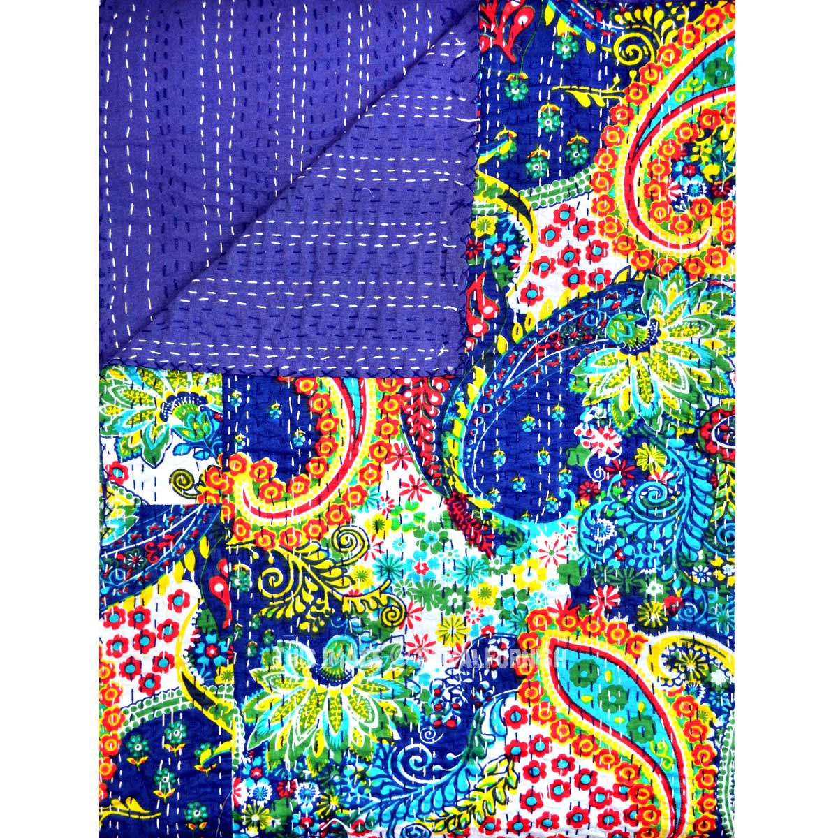 Queen Size Blue Multicolor Paisley Kantha Quilt Blanket Bedding