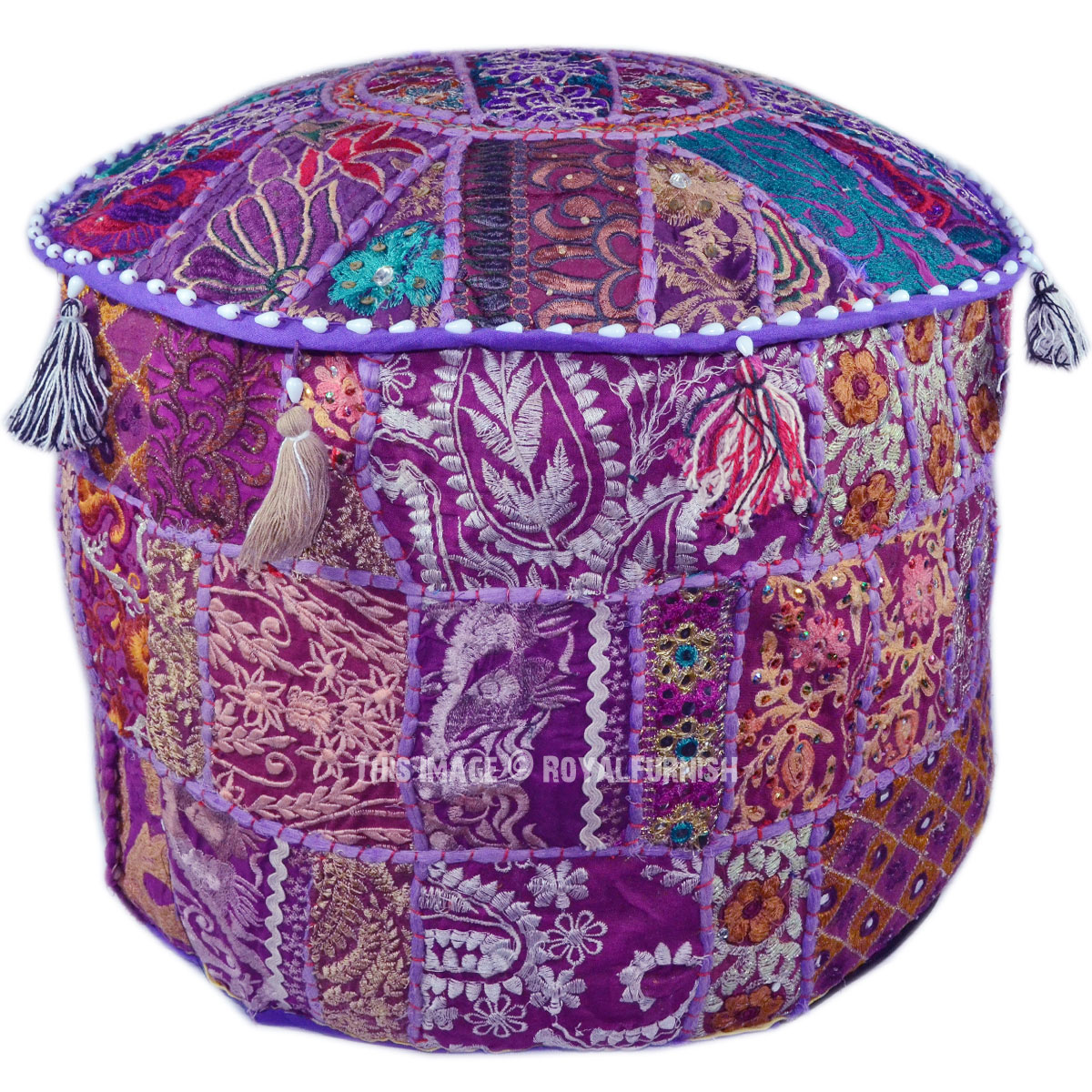 Purple Indian Handmade Round Ottoman Pouf Stool Floor