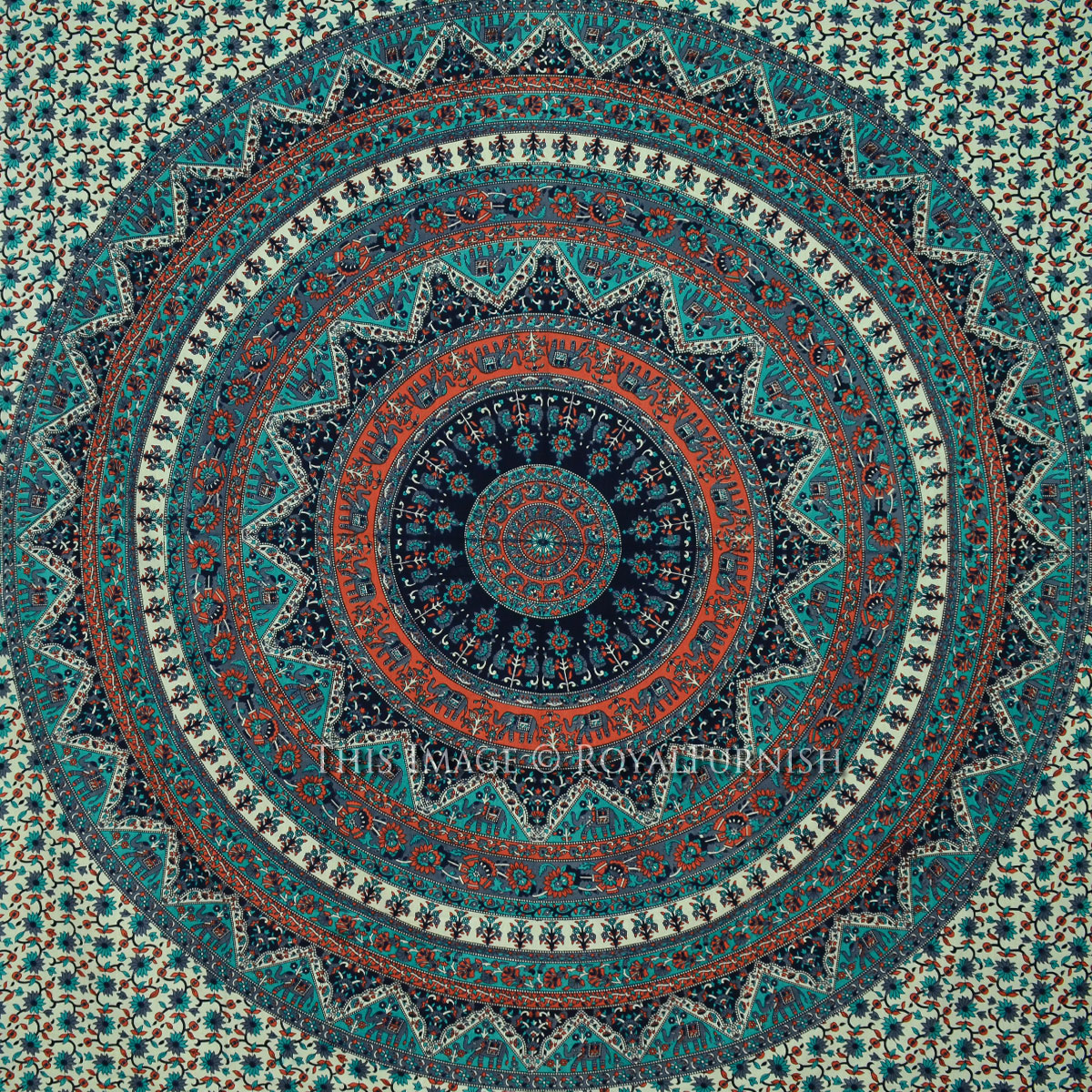 Queen Gray Multicolor Indian Psychedelic Bohemian Tapestry Wall Hanging