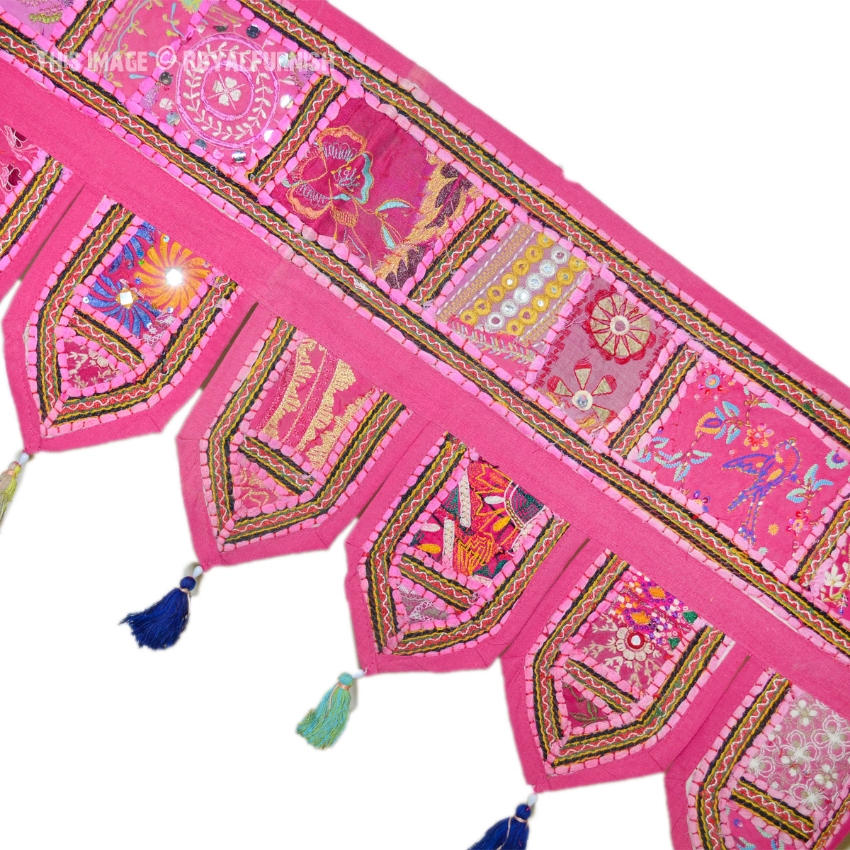 Large Pink Patchwork Embroidered Toran Windows Door
