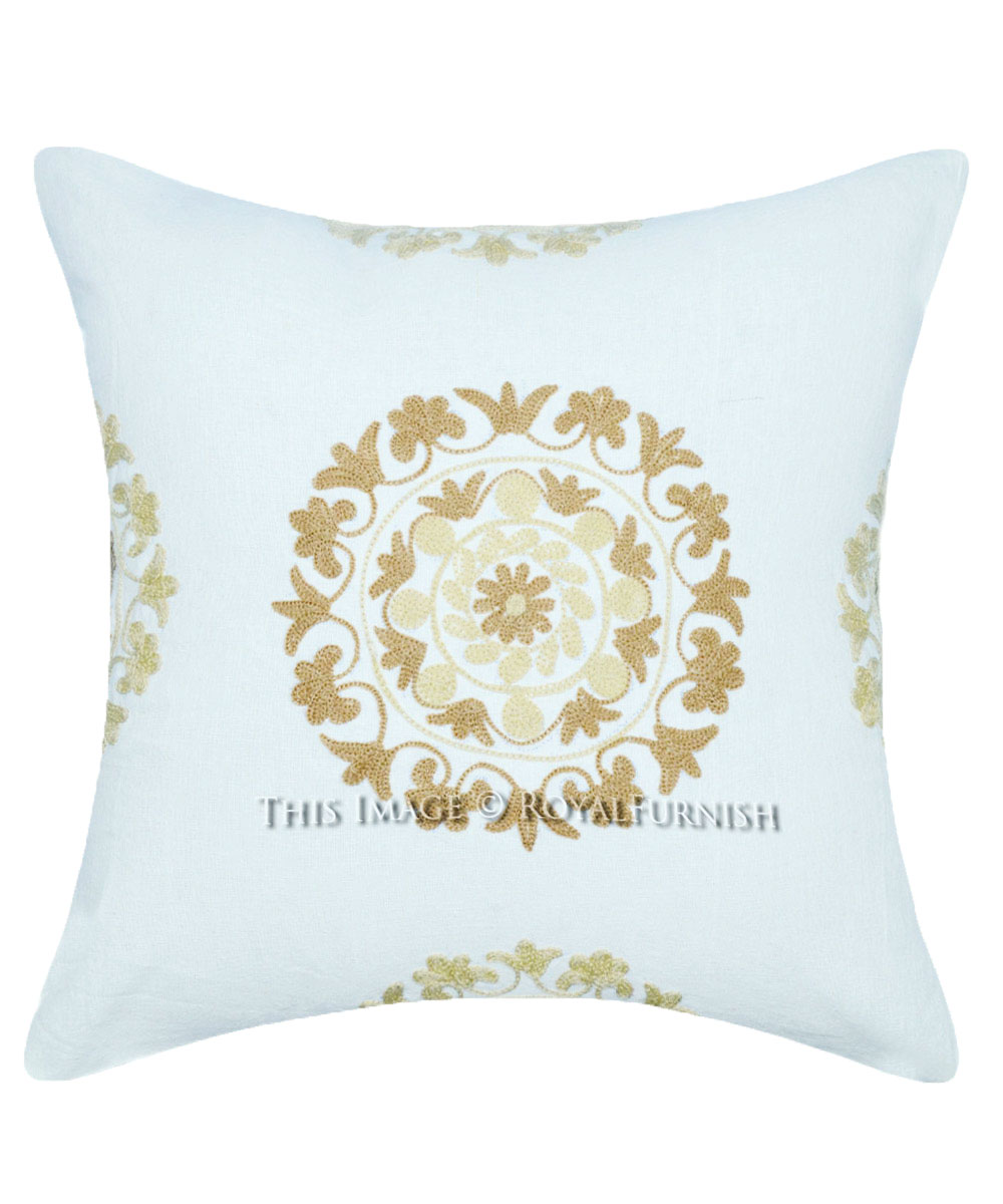 16 x 16 floral embroidered suzani indoor outdoor pillow sham royalfurnish com