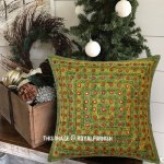 Multi Green Square Mirrored Embroidered Handmade Decorative Pillow Case 16x16 Inch