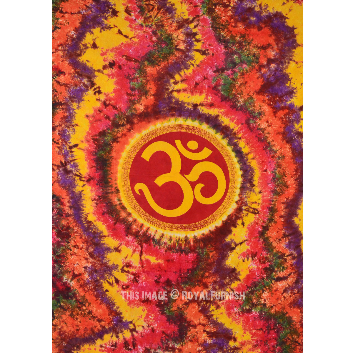 Twin Colorful Hippie Hindu OM Symbol Tapestry Wall Hanging Bedspread