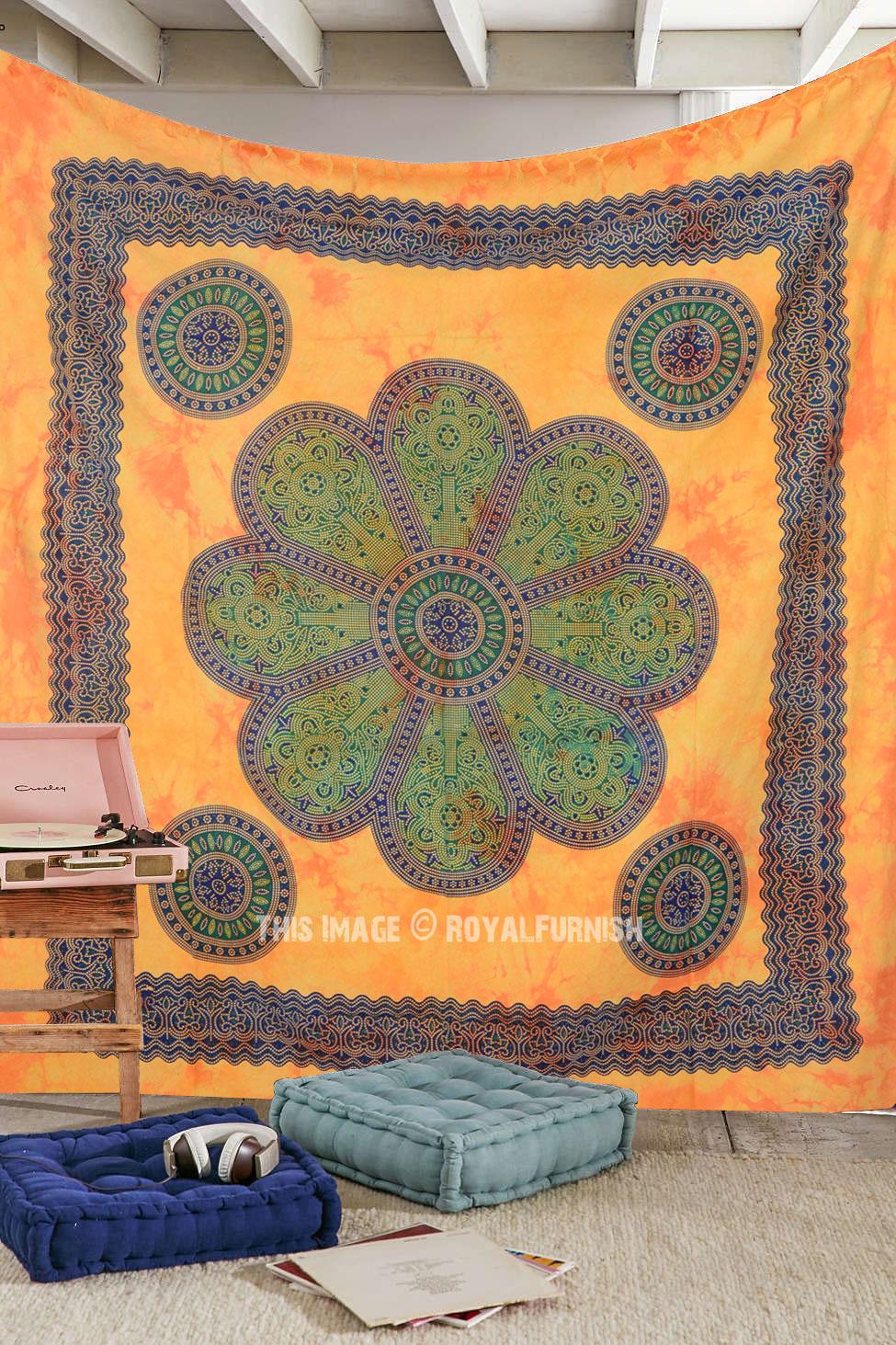 Brown Indian Floral Mandala Tapestry Bohemian Boho Style