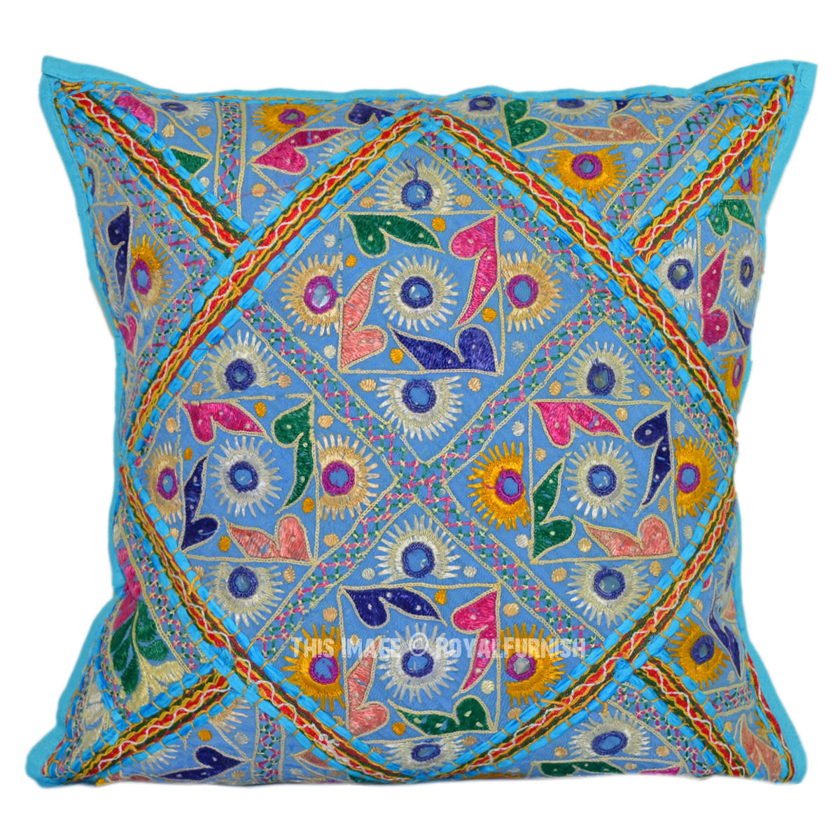 Turquoise Blue Decorative Vintage Tribal Boho Embroidered Toss Pillow
