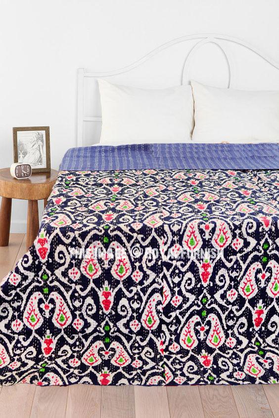 Blue Queen Size Paisley Ikat Kantha Quilt Blanket Bedding Bedspread