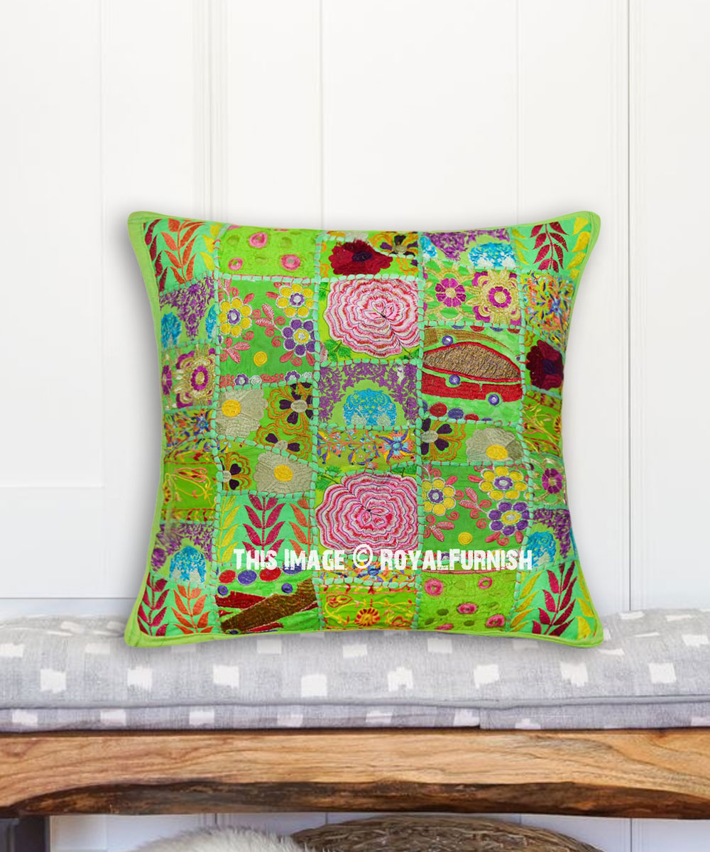 parrot green one of a kind unique boho patchwork 20x20 pillow case royalfurnish com