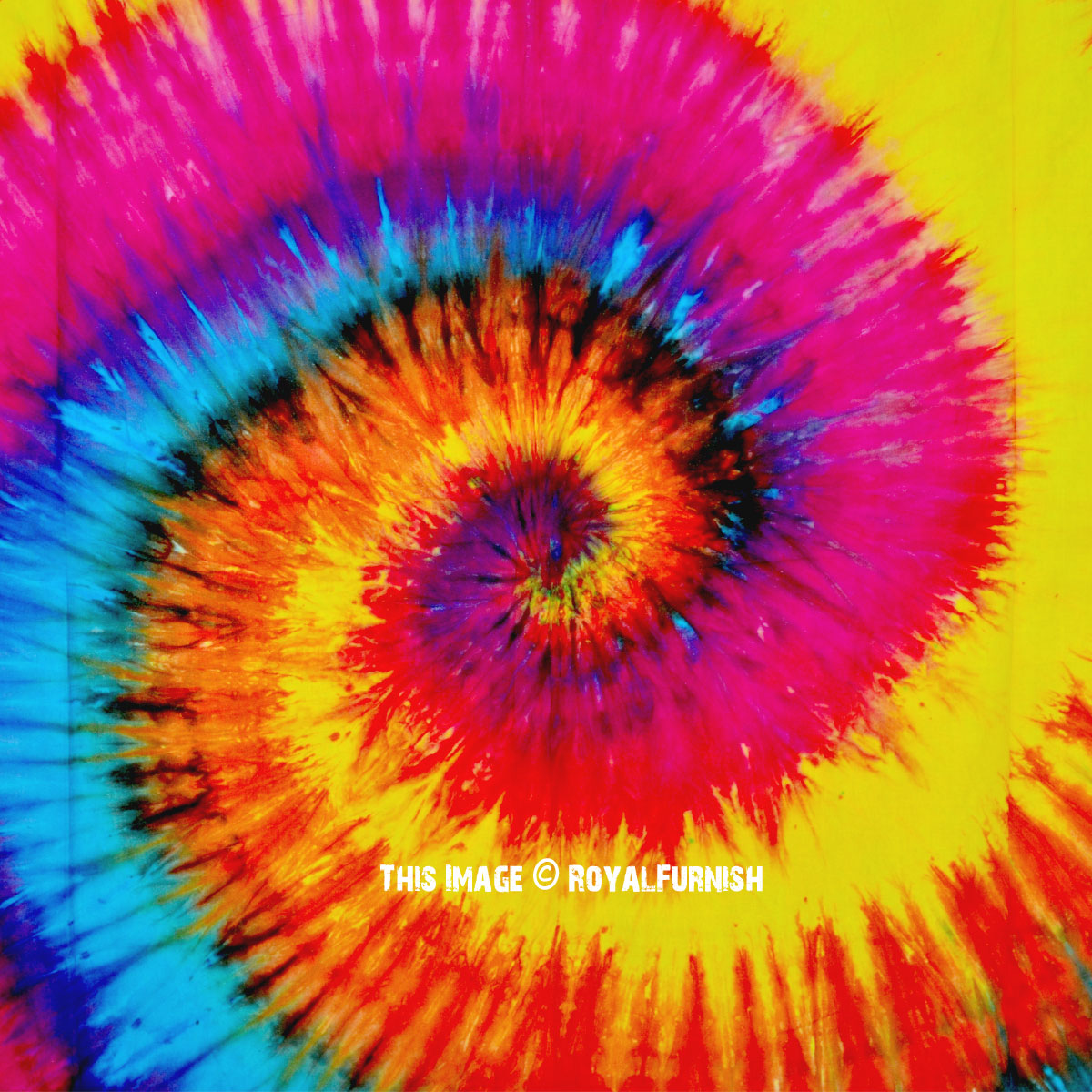 Vibrant Colorful Spiral Rainbow Colors Tie Dye Wall