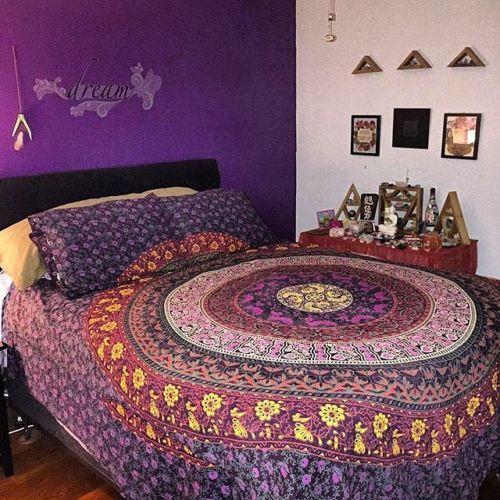 Purple Bohemian Hippie Mandala Duvet Cover Set With 2