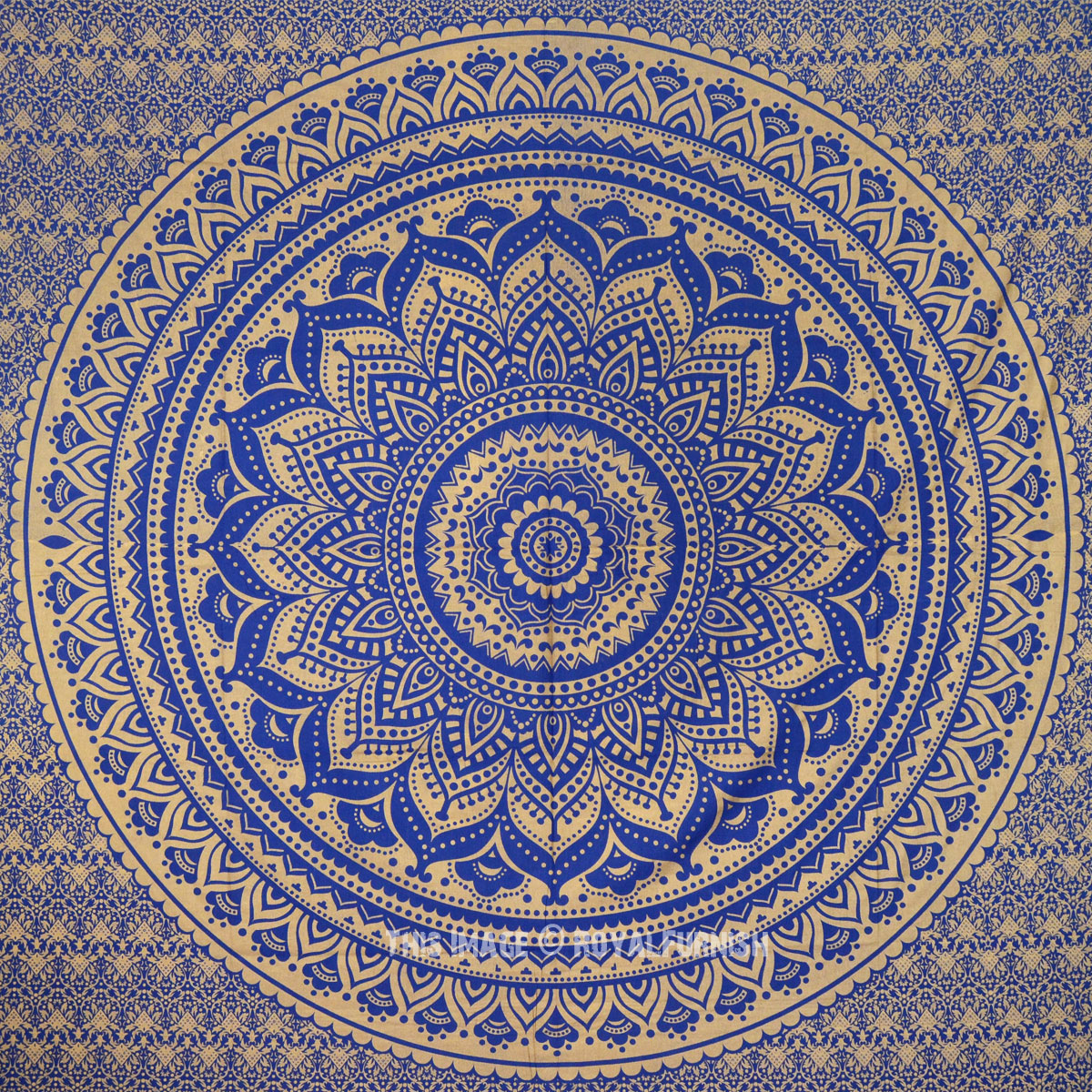 Sparkly Gold And Blue Color Trippy Flower Ombre Medallion Mandala Wall Tapestry
