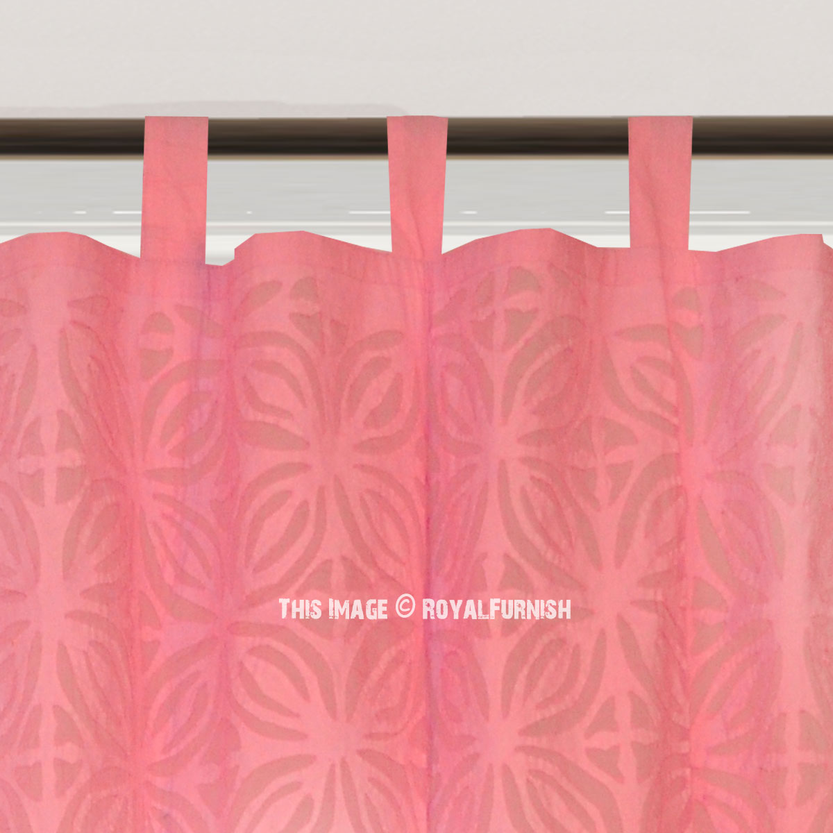 Pink Laya Fretwork Cotton Sheer Curtains Set Of 2