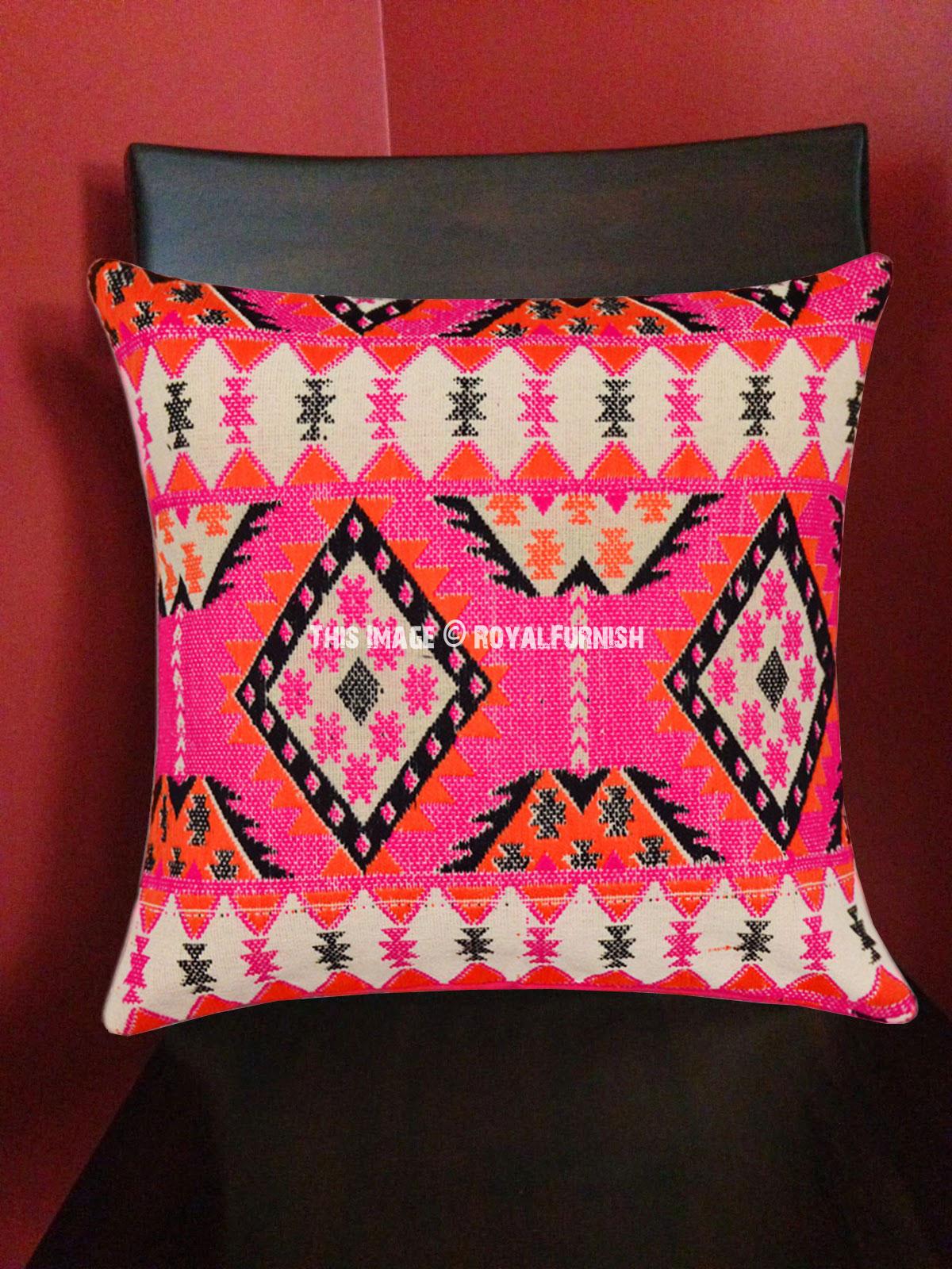 set 3 indian cotton bohemian hippie 16x16 cushion cover zari work pillow cover home decor indian south asian home decor pillows