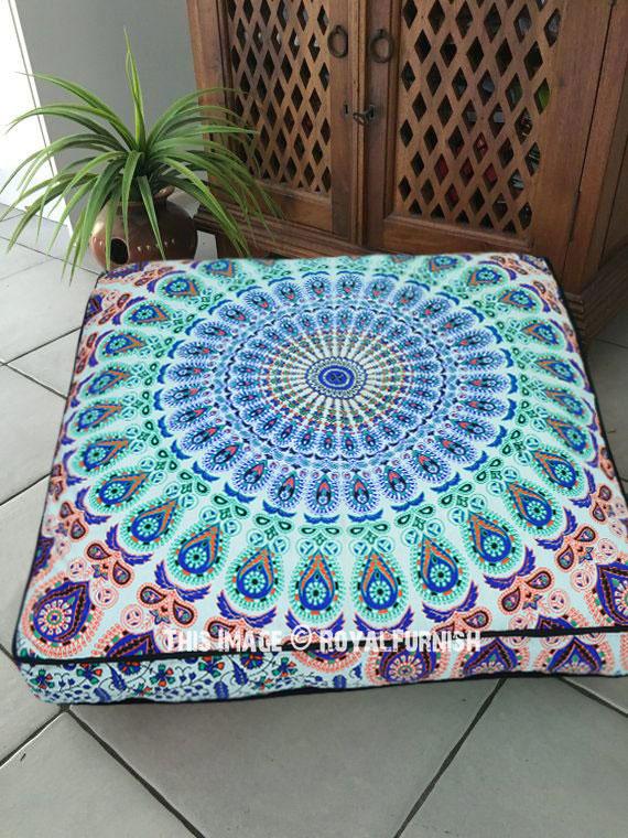 36 inch traditional indian peacock mandala square floor pillow cover royalfurnish com