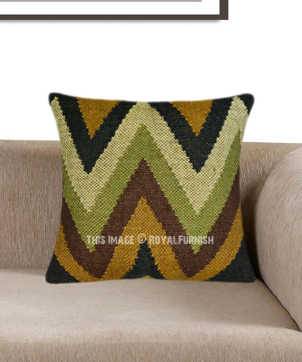 boho chevron kilim rug pillow cover 16 inch royalfurnish com