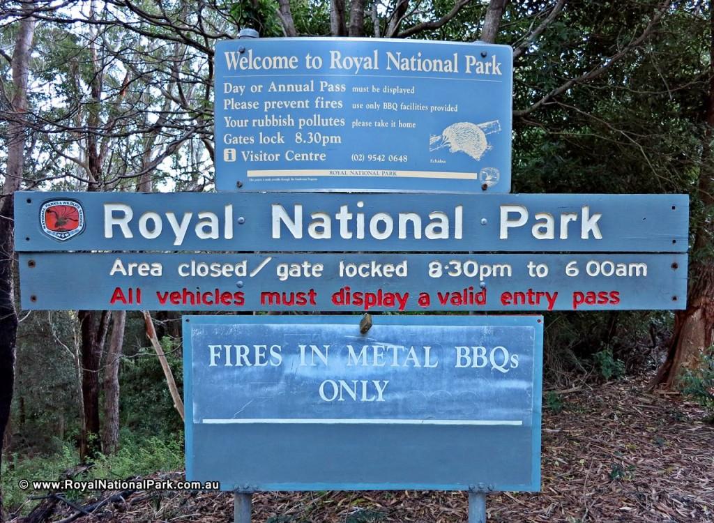Royal National Park entrance sign