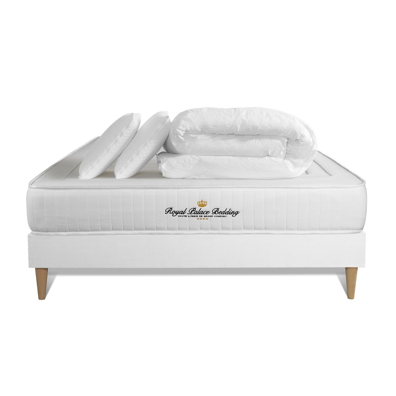 pack pret a dormir 200x200 matelas lancaster ressorts ensaches et memoire de forme sommier kit blanc couette 260x240cm 2 o