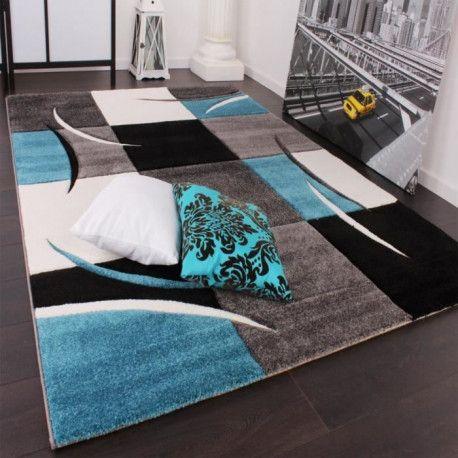 diamond tapis de salon bleu turquoise gris et noir 160 x 230 cm